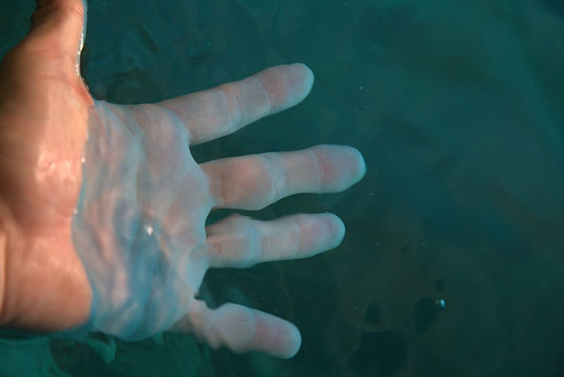 File:Hand in water at the Blue Grotto.jpg